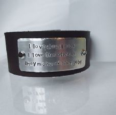 "Lovely Handmade Personalised ""I love deadlines..."" Leather Statement Cuff Bangle"